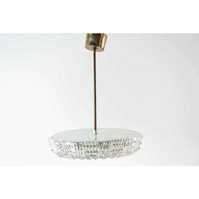 1970s Mid Century Modern Carl Fagerlund for Orrefors Glass and Brass Pendant Light For Sale - Image 5 of 8