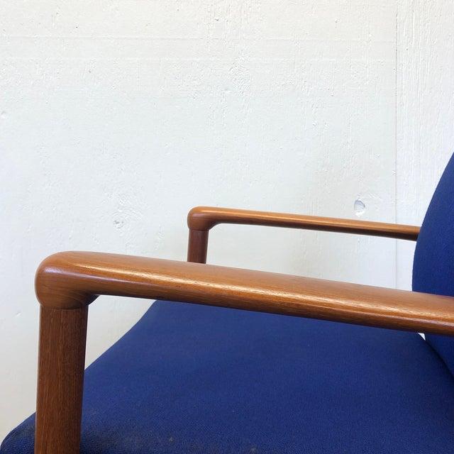 Blue Mid-Century Fritz Hansen Danish Teak Armchair Lounge For Sale - Image 8 of 13