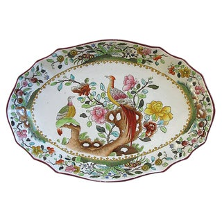 Antique Hand-Painted Copeland Spode Serving Dish W/ Birds