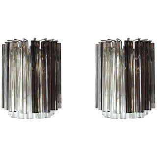 Vintage Camer Smoked Glass Sconces - a Pair For Sale