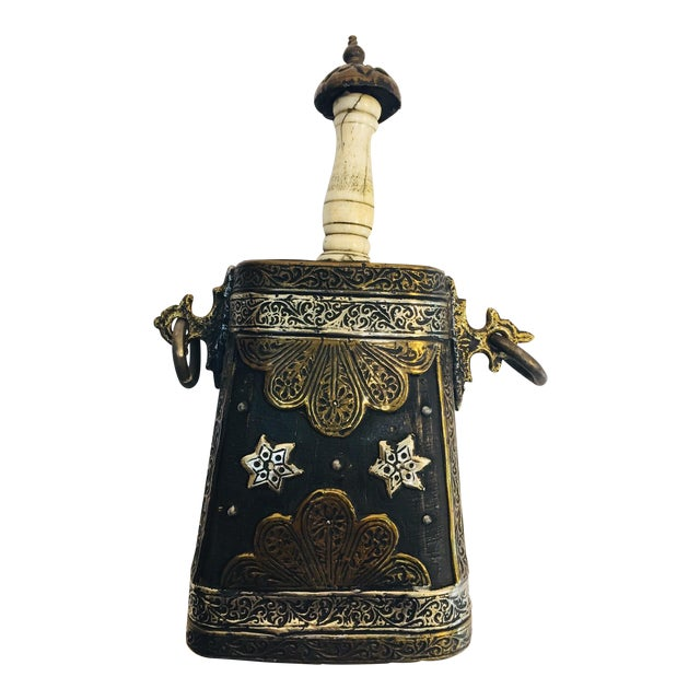 Moroccan Antique Tribal Gun Powder Case Flask For Sale