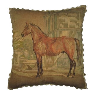 Aubusson Needlepoint Hand Stitched Horse Throw Pillow
