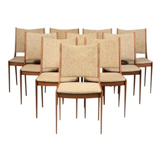 Mid Century Johannes Andersen Refinished Teak Dining Chairs- Set of 10 For Sale