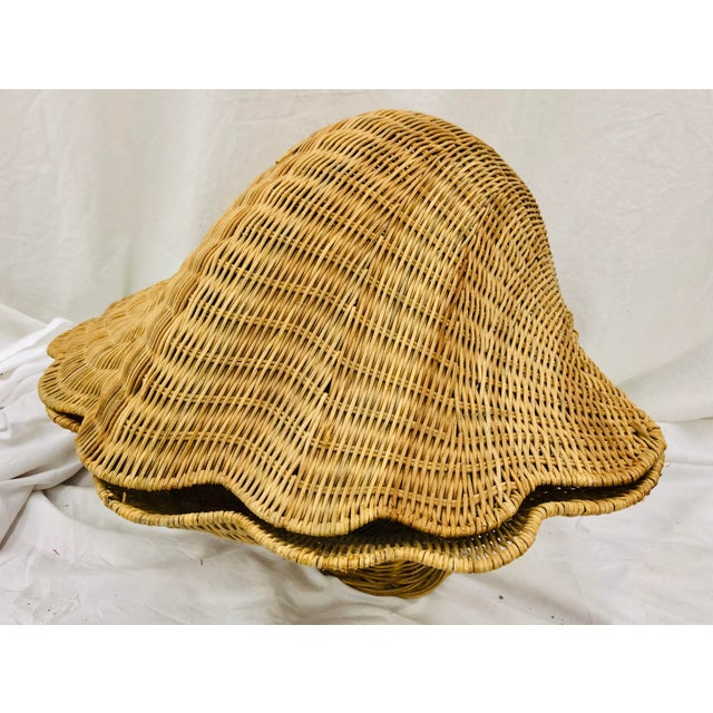 Fabulous Vintage Mid Century Era Boho / Palm Beach Chic Hollywood Regency Style Woven Wicker Clam Shell. Original natural...