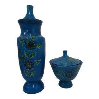 1960s Bitossi Vases Rimini Blue Flowers - a Pair For Sale
