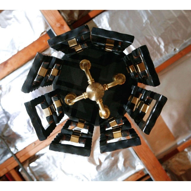 2010s Paul Marra Link Light Fixture in Brass and Oil Rubbed Bronze For Sale - Image 5 of 5