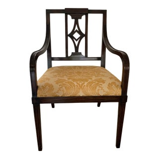 Vintage Wood Armchair With Fortuny Seat Cushion Fabric For Sale
