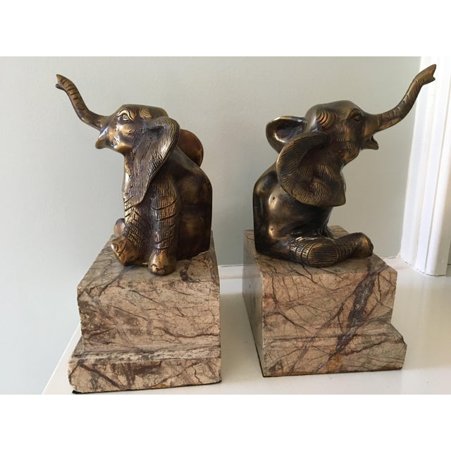 Mid-Century Vintage Brass and Marble Elephant Bookends - a Pair For Sale - Image 12 of 12