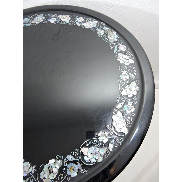 Mid 20th Century Antique Black Lacquer and Mother of Pearl Inlayed Oriental Side or Accent Tables - a Pair For Sale - Image 5 of 7