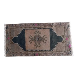 Distressed Low Pile Small Rug Turkish Hand Knotted Bath Mat Yastik Rug 1′6″ × 2′11″ For Sale