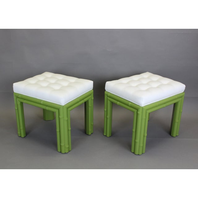 Pair of Faux Bamboo Green Benchches - Image 3 of 11