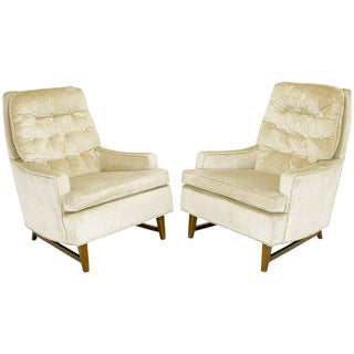 Pair of 1960s High Back Ivory Cut Velvet Lounge Chairs After Harvey Probber For Sale