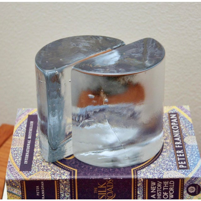 Blenko Blenko Clear Half Moon Bookends, a Pair For Sale - Image 4 of 13