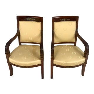 1920s Antique Empire Mahogany Armchairs - A Pair