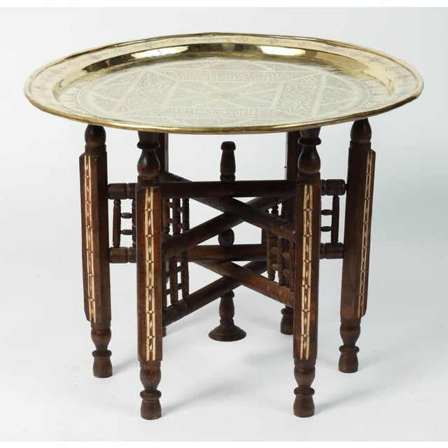 Middle Eastern Syrian Antique Brass Tray Table With Wooden Folding Stand For Sale - Image 9 of 9
