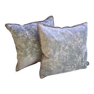 Layla Grace Aqua Velvet Pillows - A Pair For Sale