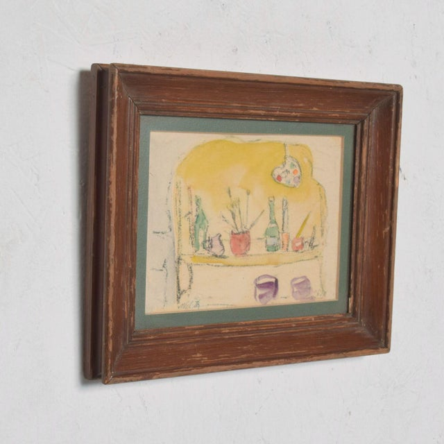 Impressionist Modern Mid Century Vintage Still Life Drawing Yellow Purple Lithograph For Sale - Image 3 of 9
