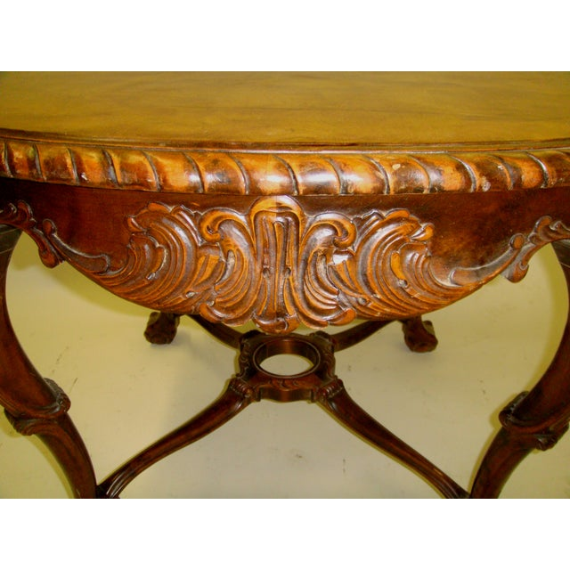 Swedish Flame Birch Carved Center Table - Image 5 of 5