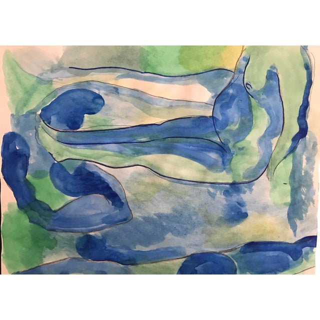 1980s Seated Nude Male Watercolor Painting For Sale