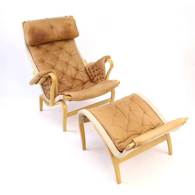 DUX Bruno Mathsson Dux of Sweden Pernilla Chair & Ottoman f For Sale - Image 4 of 10