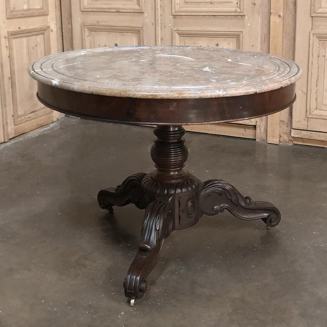 19th Century French Louis Philippe Marble Top Center Table For Sale In Dallas - Image 6 of 11