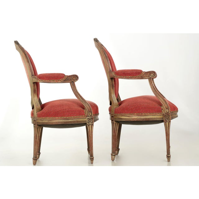 Louis XVI Vintage French Louis XVI Style Gray Painted Fauteuil Arm Chairs - a Pair For Sale - Image 3 of 10