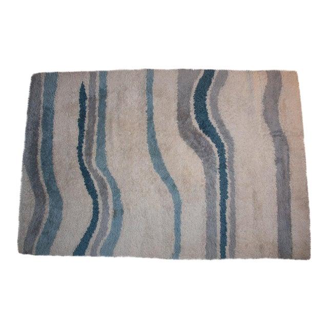 Circa 1960 Modern Danish Abstract Blue and White Wool Rya Rug - 5′7″ × 8′4″ For Sale