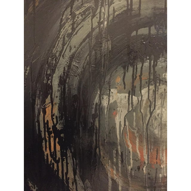 Kennan Del Mar 'Black Hole on Black' Painting, Oil and Pastel on Canvas For Sale - Image 4 of 6