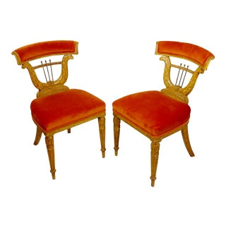 Lyre Back Upholstered Voyeuse Chairs in the Manner of Georges Jacob -A Pair For Sale