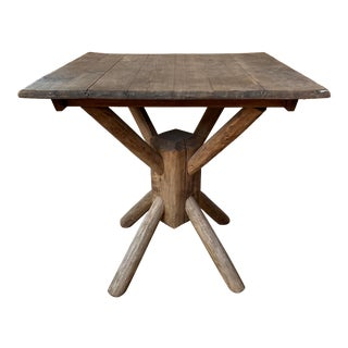 Custom Vintage Adirondack Hand Carved Wood Table For Sale