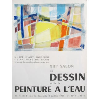 1961 Original French Exhibition Poster - 13th Salon of Drawing and Watercolour, Musée d'Art Moderne De La Ville De Paris For Sale