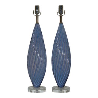 Vintage Murano Lavender Opaline Glass Lamps For Sale