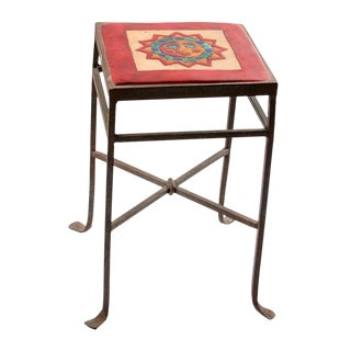19th Century Spanish Colonial Ceramic Tile Wrought Iron Side Table For Sale