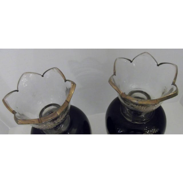Late 19th Century Antique Hand Enameled European Glass Garniture Vases - A Pair For Sale - Image 5 of 7