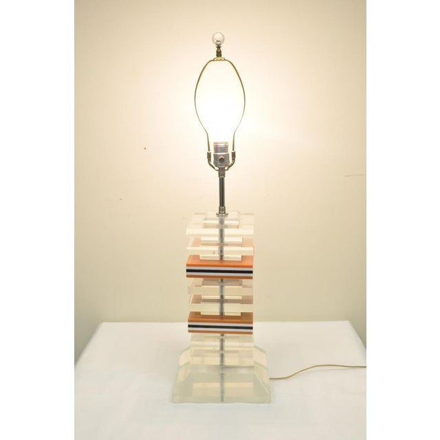 Mid-Century Modern Vintage Mid Century Modern Stacked Lucite Skyscraper Table Lamp Karl Springer For Sale - Image 3 of 10