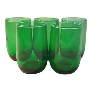 Anchor Hocking Roly Poly Forest Green 3.5oz. Tumblers - Set of 5 For Sale