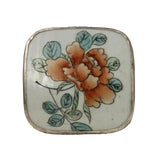Image of Chinese Flower Porcelain Nickel Trinket Box For Sale