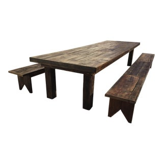 Custom Made Farmhouse Table and Benches Set For Sale