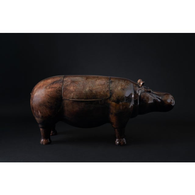 Brass Hippo Parchment Dry Bar For Sale - Image 7 of 8