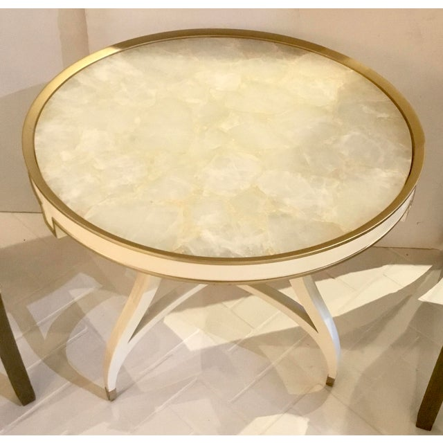Original retail $4600, stylish Caracole modern white the ladies side table prototype, wood frame adorning brass metal...