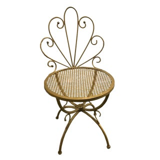 Vintage Hollywood Regency Style Antique Brass Chair