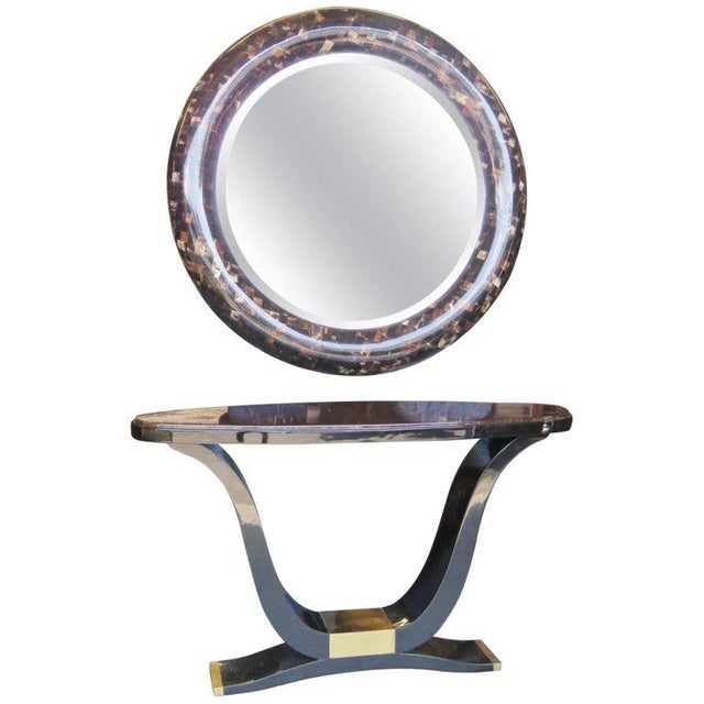 Black Enrique Garcel Tassellated Horn Console and Mirror For Sale - Image 8 of 8