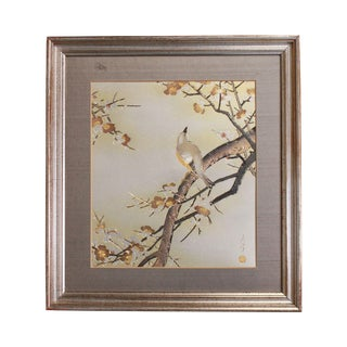 Chokin Art Framed Scene Bird in Blossoming Prunus Tree Custom Frame For Sale