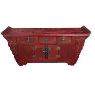"Cantonese Altar Table Bat Fu Chest 73"" W by 33.75"" H For Sale"