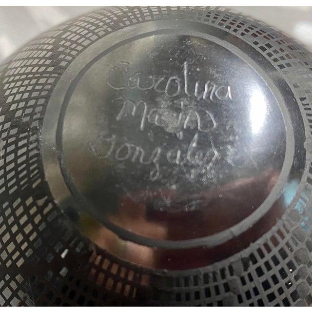 Ceramic 1950s Carolina Marin Gonzalez Black on Black Studio Pottery Vase For Sale - Image 7 of 11