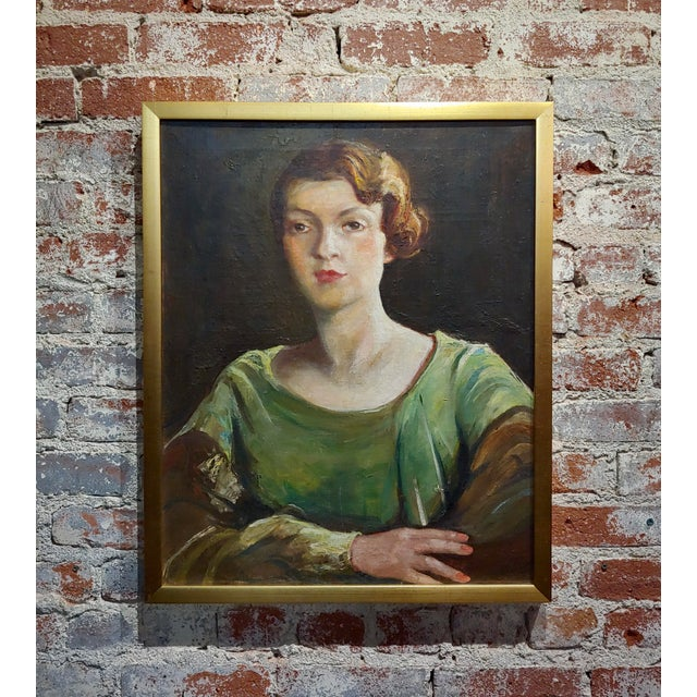 Antonia Greene -1920s Portrait of a Woman in Green -Oil Painting For Sale In Los Angeles - Image 6 of 9