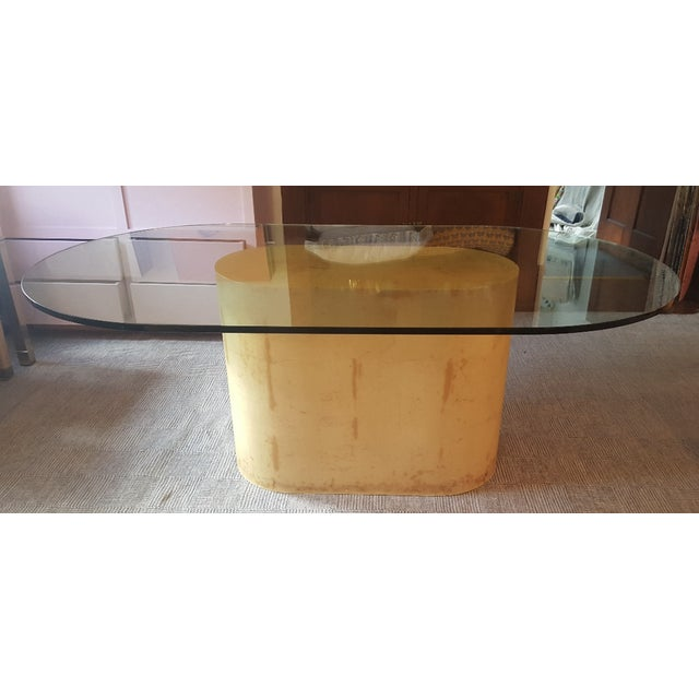 "Karl Springer lacquered goat skin dining table base with rounded corner glass top. Base: 36"" wide x 18"" deep x 28"" high..."