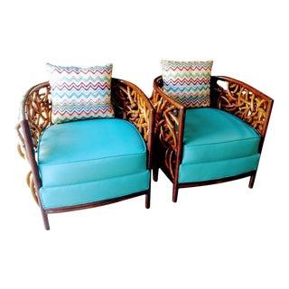 Palecek Barrel Back Auburn Bent Graphic Weave Rattan Side Chairs - a Pair