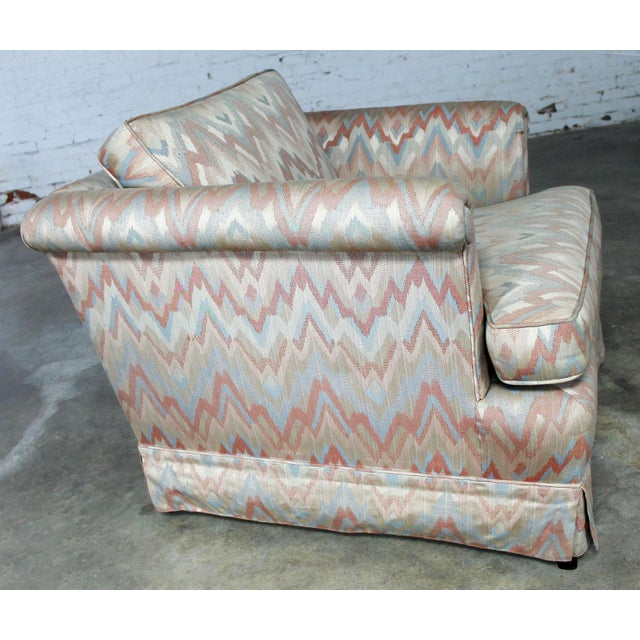 Tuxedo Style Skirted Lounge Chair with Rolled Arms and Flame Stitch Upholstery For Sale - Image 4 of 11