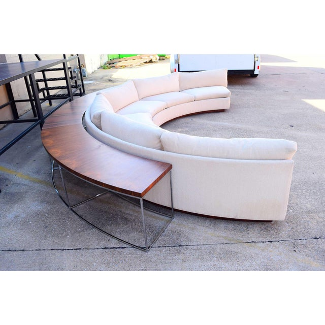 Milo Baughman Semi-Circular Sofa With Rosewood Tables For Sale - Image 10 of 13
